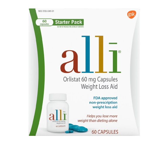 Alli Diet Weight Loss Supplement Pills, Orlistat 60mg Capsules Starter Pack 60 count