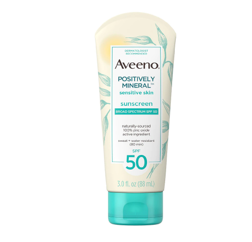 Aveeno Positively Mineral Sensitive Sunscreen Lotion SPF 50 Fragrance-Free