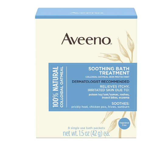Aveeno Soothing Bath Treatment Colloidal Oatmeal Skin Protectant Single Use Packets (Actual Item May Vary)