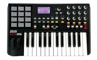 Controlador Profesional USB/MIDI Performance, de 25 Teclas, Akai. Mod. MPK25