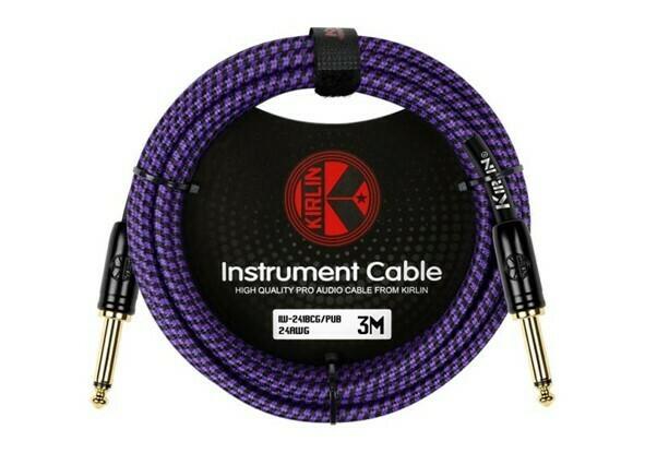 "Cable Profesional para Instrumento, Plug a Plug de 1/4"" Mono, de 3 metros, Kirlin. Mod. IW-241BCG/PUB 10FT"