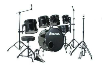 Batería Acústica, 6 piezas, color negro, Evolution.  Mod. Pantera