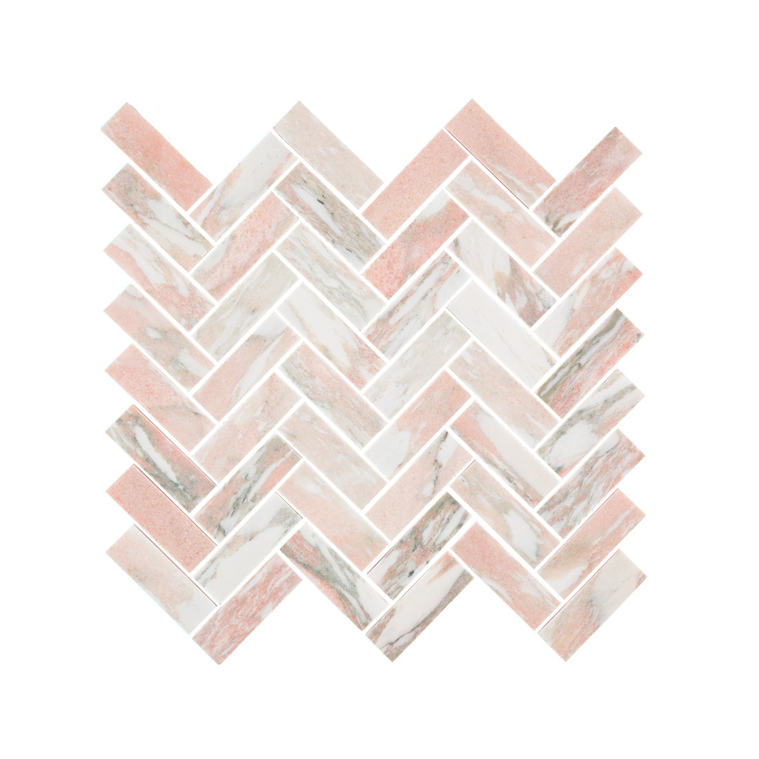 Norwegian Rose Marble Herringbone Mosaic