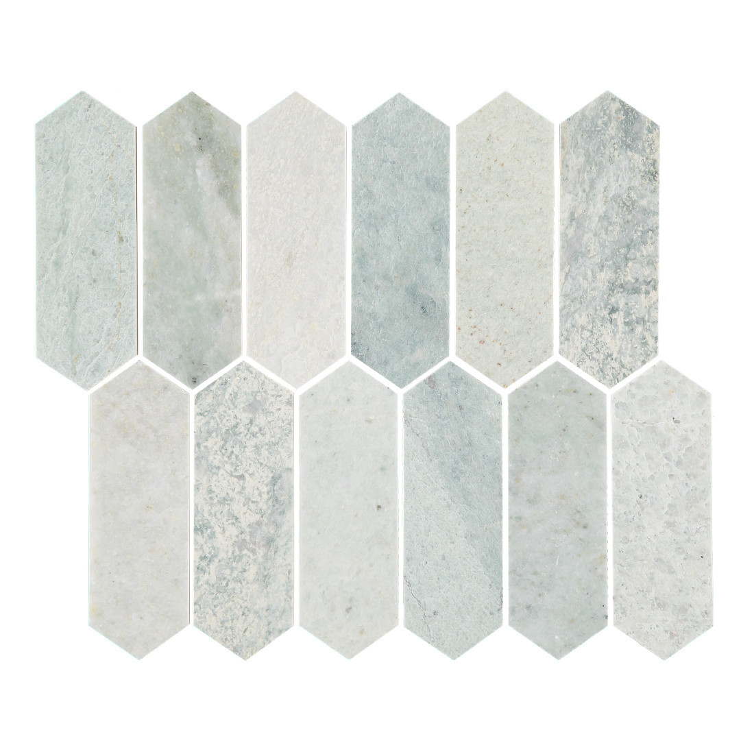 Ming Green Marble Picket Mosaic