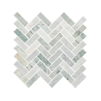 Ming Green Marble Herringbone Mosaic