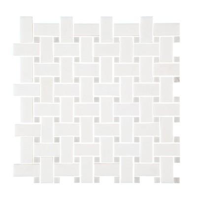 Carrara & Thassos Basketweave Mosaic