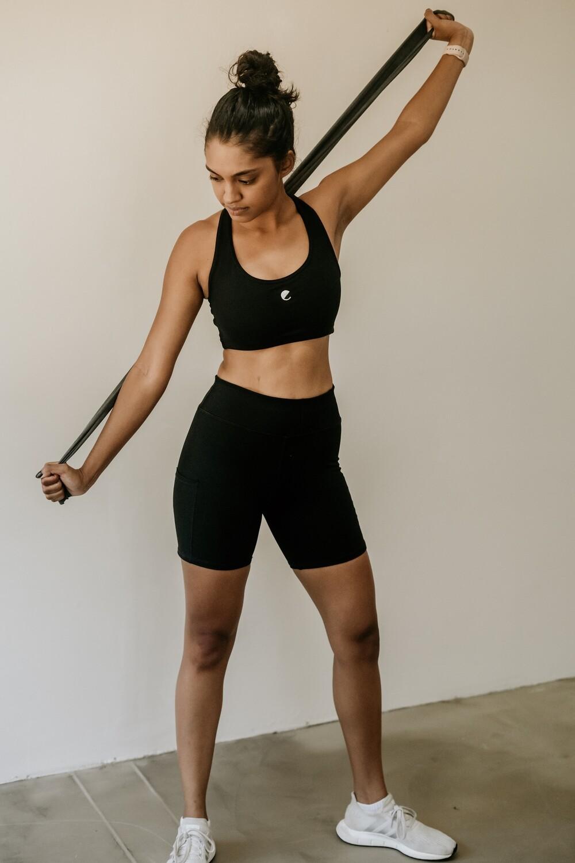 plain black short tights