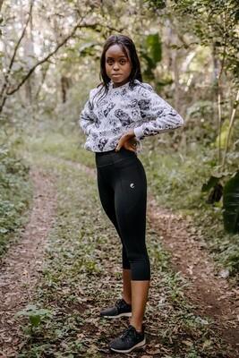 black 3/4 panelled tights