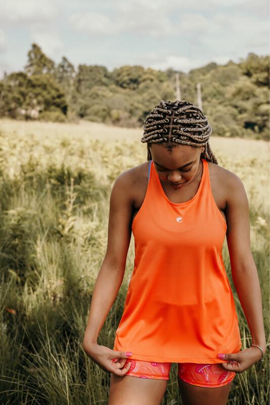 orange high neck vest