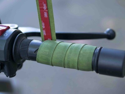 Leather Bike Handle Grips (GREEN)