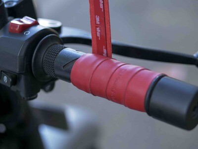 Leather Bike Handle Grips (Red)
