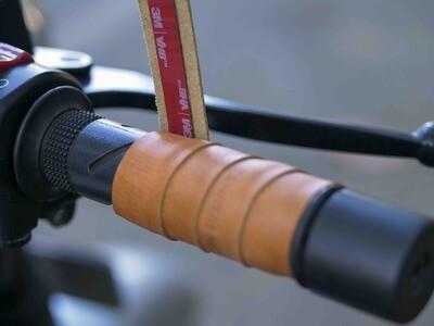 Leather Bike Handle Grips (Natural Tan)