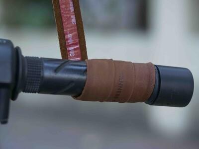 Leather Bike Handle Grips (Dark Tan)