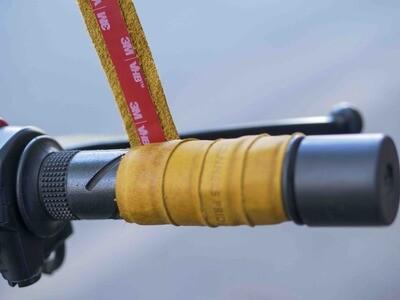 Leather Bike Handle Grips (Mustard)