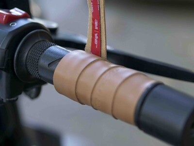 Leather Bike Handle Grips (Camel)