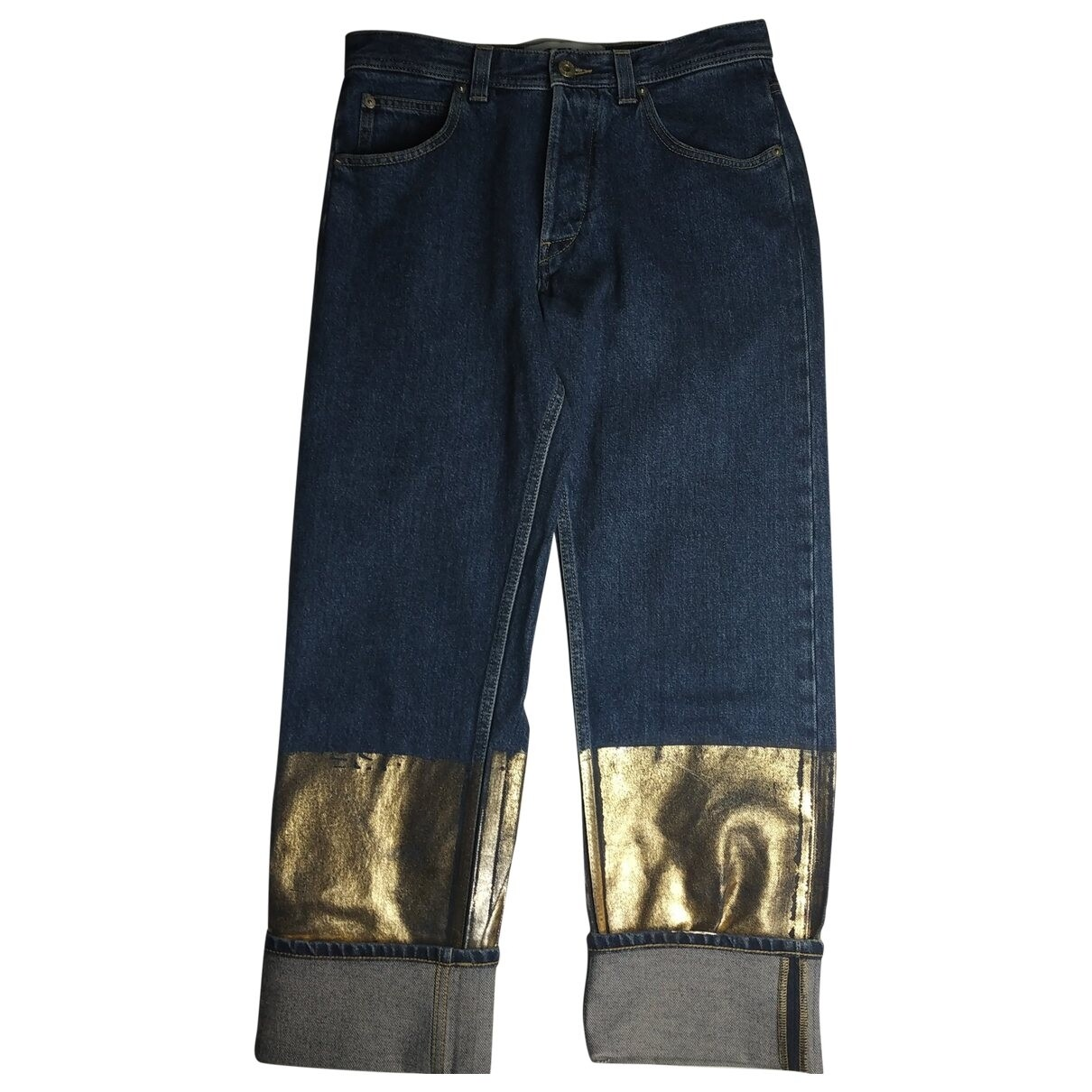 Loewe Blue Cotton Jeans with Gold