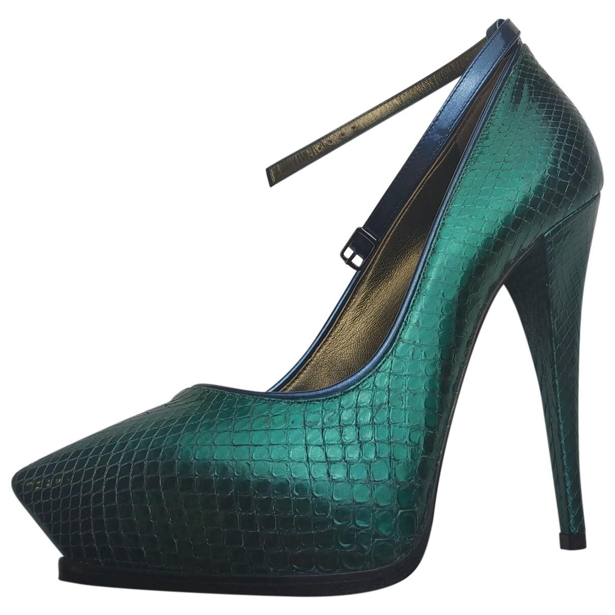 Lanvin Green Python heels