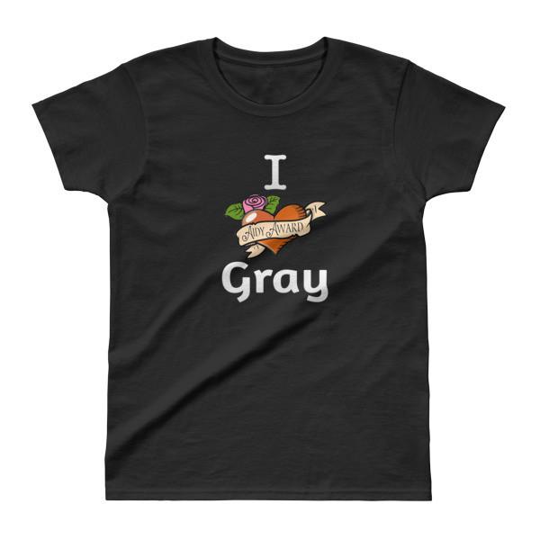I heart Gray Black Ladies' T-shirt