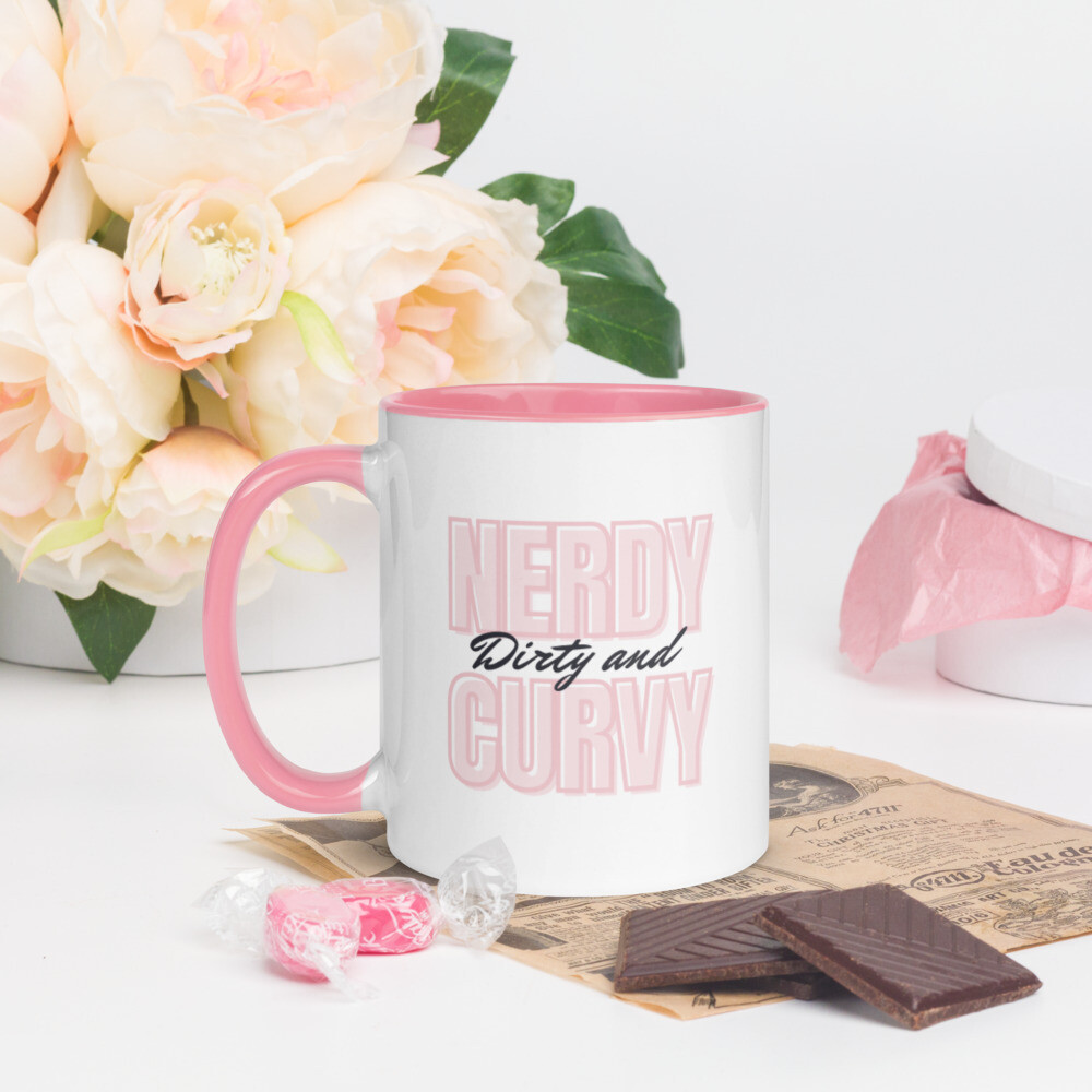 Nerdy, Dirty, and Curvy Mug with Color Inside