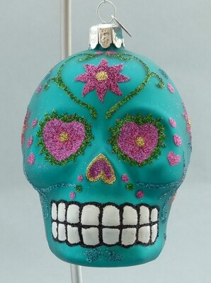Day of the Dead Glass Skull -Turquoise