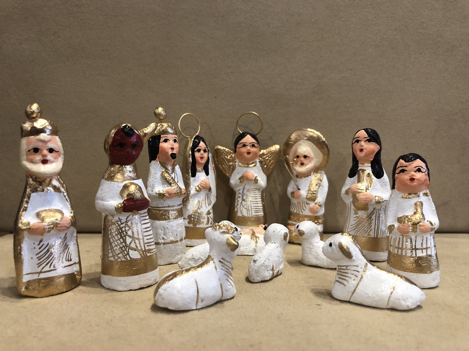 Mexican Clay Nativity - White