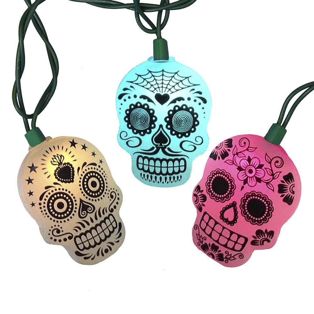 LED Color Changing Sugar Skull Light Set