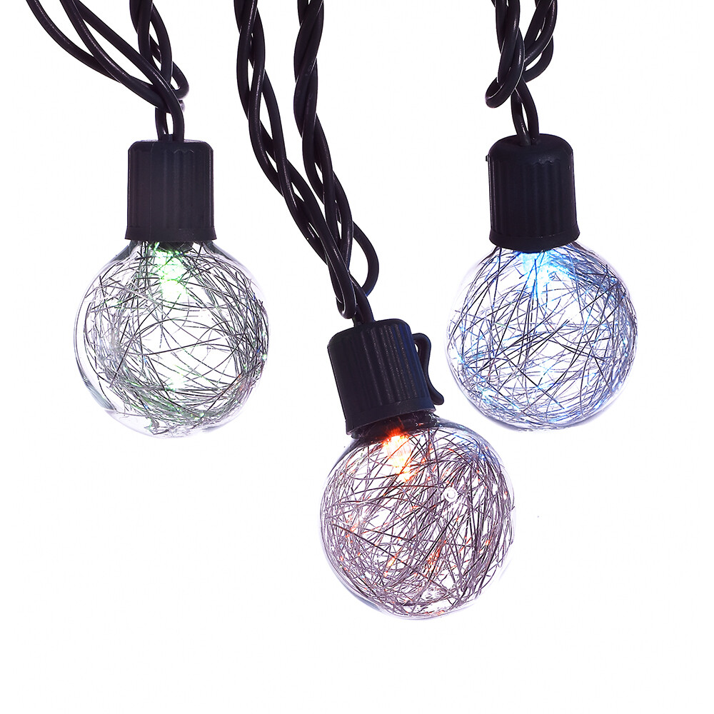 LED Color Changing SilverTinsel Ball Light Set