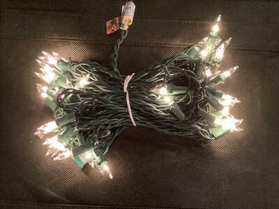 Clear White Incandescent 50 Light Set, Green Wire