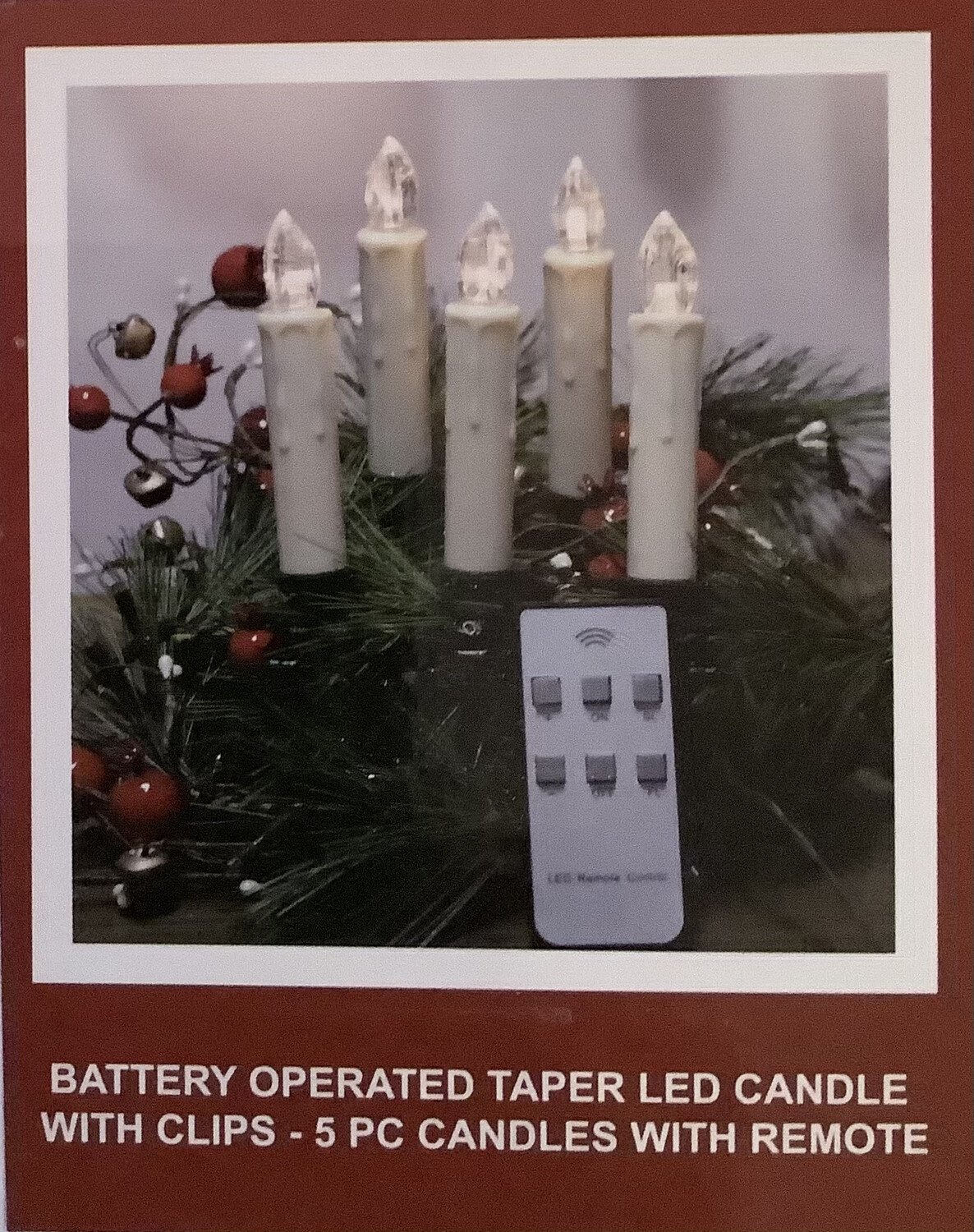5 PC Battery Taper LED Candle With Clips