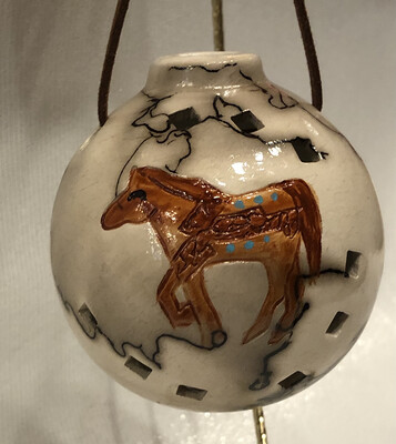 Horse on Horse Hair Round Ornament