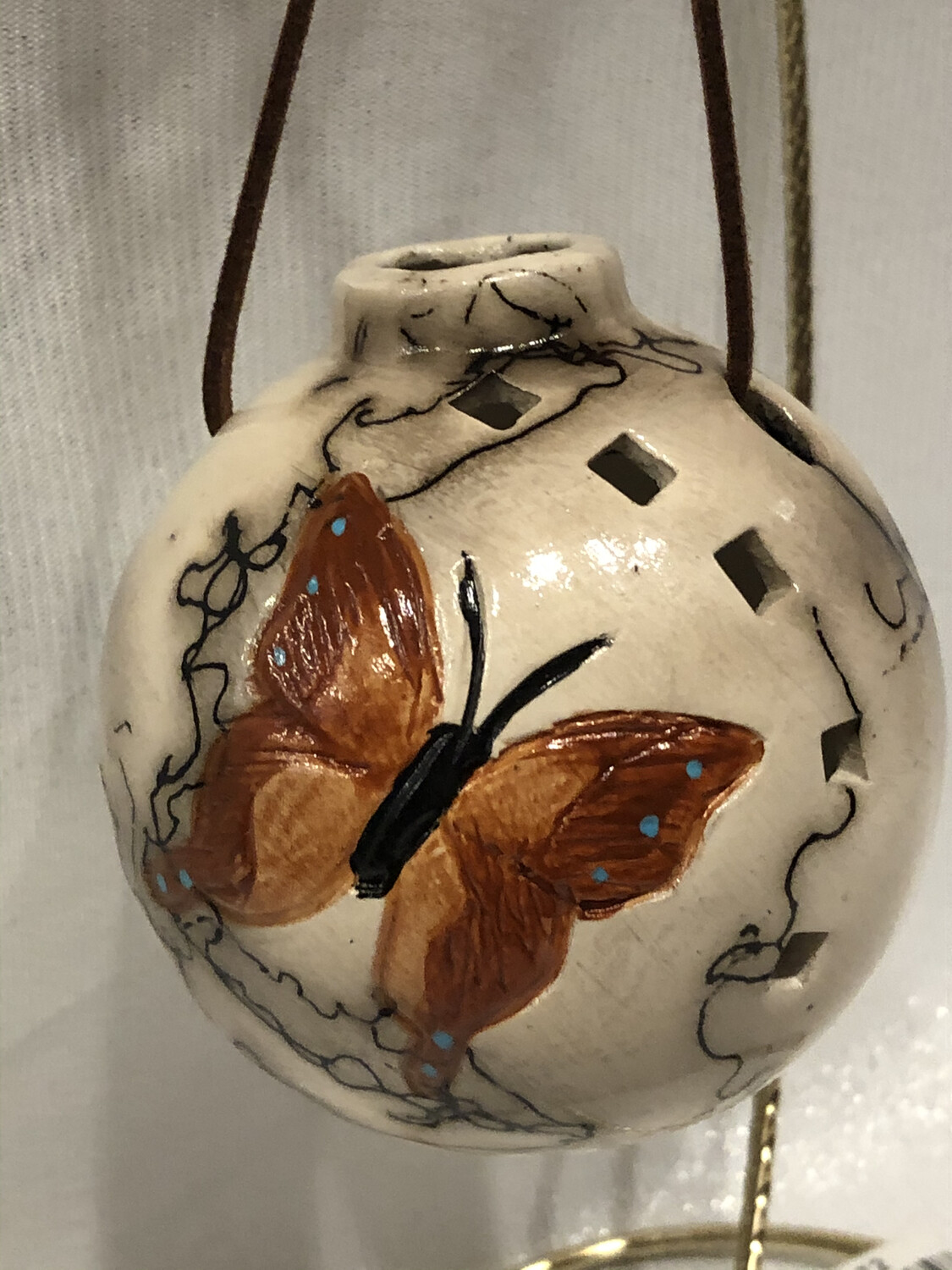 Butterfly on Horse Hair Round Ornament