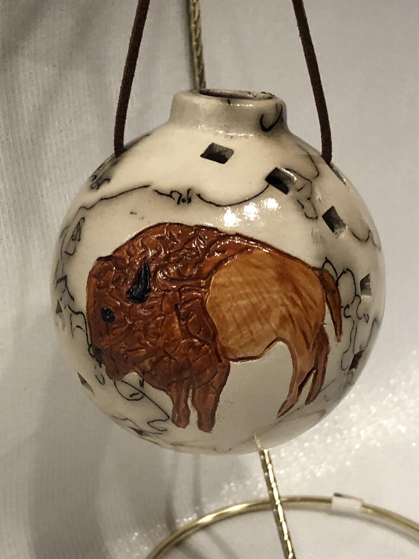 Buffalo on Horse Hair Round Ornament