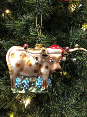 Glass Longhorn Ornament