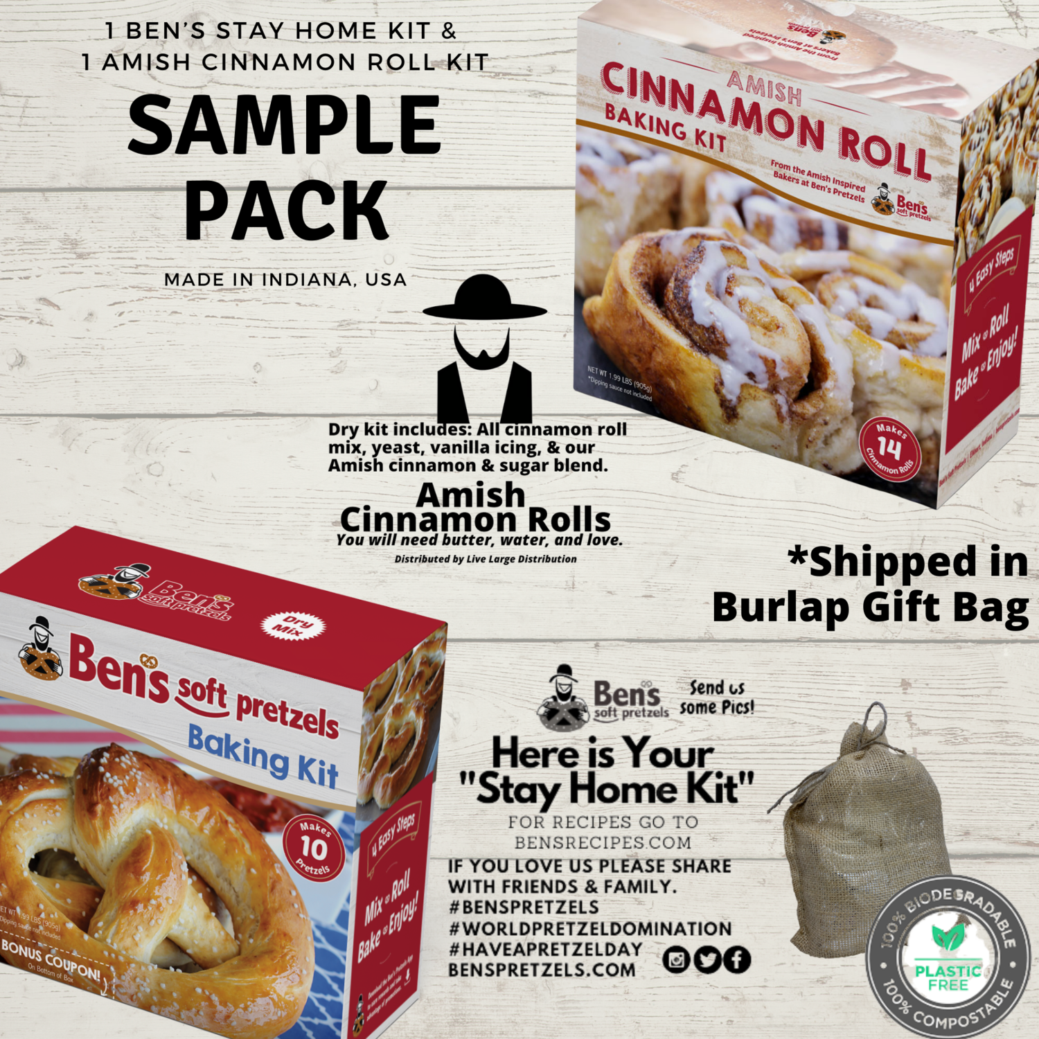 Amish Baking Sample Pack-1 Ben's Soft Pretzels Kit and 1 Amish Cinnamon Roll Kit
