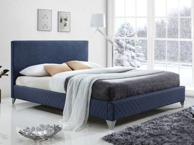 Time Living Brooklyn Upholstered Bed Frame in Blue