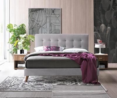 Novara Light Grey Fabric Double Bed