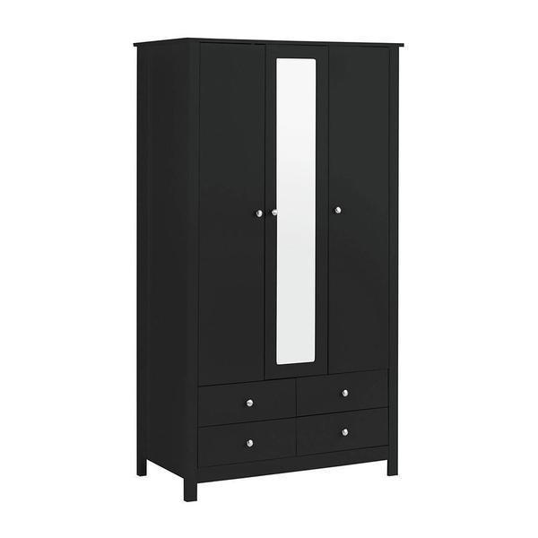 Florence Black 3 Door 4 Drawer Wardrobe with Mirror