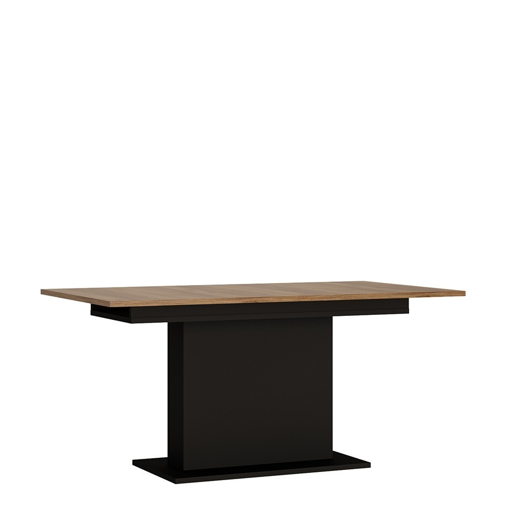 Brolo Walnut and Dark Panel Finish Extending Dining Table