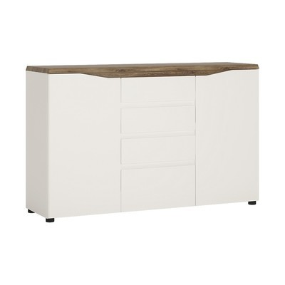 Toledo Alpine White and Stirling Oak Double Door 4 Drawer Sideboard