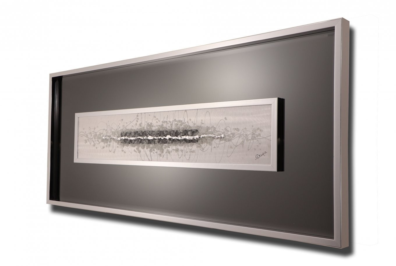 Accent Mirrored Artwork in Grey