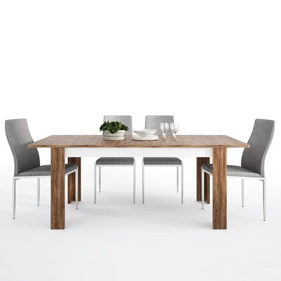 Toledo Extending Dining Table With 4 Milan High Back Chair Set