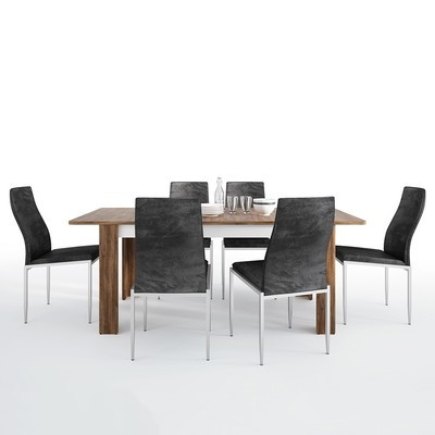 Toledo Extending Dining Table With 6 Milan High Back Chair Set