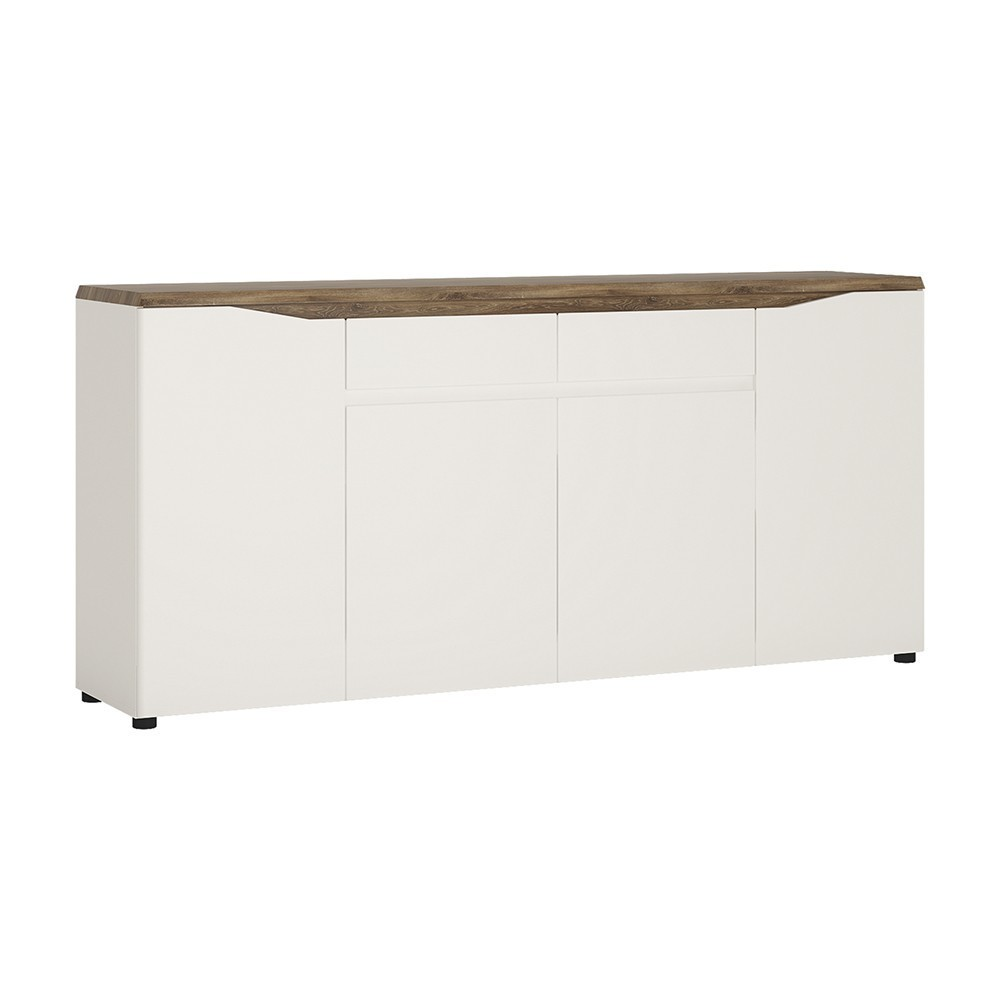 Toledo Alpine White and Stirling Oak 4 Door 2 Drawer Sideboard
