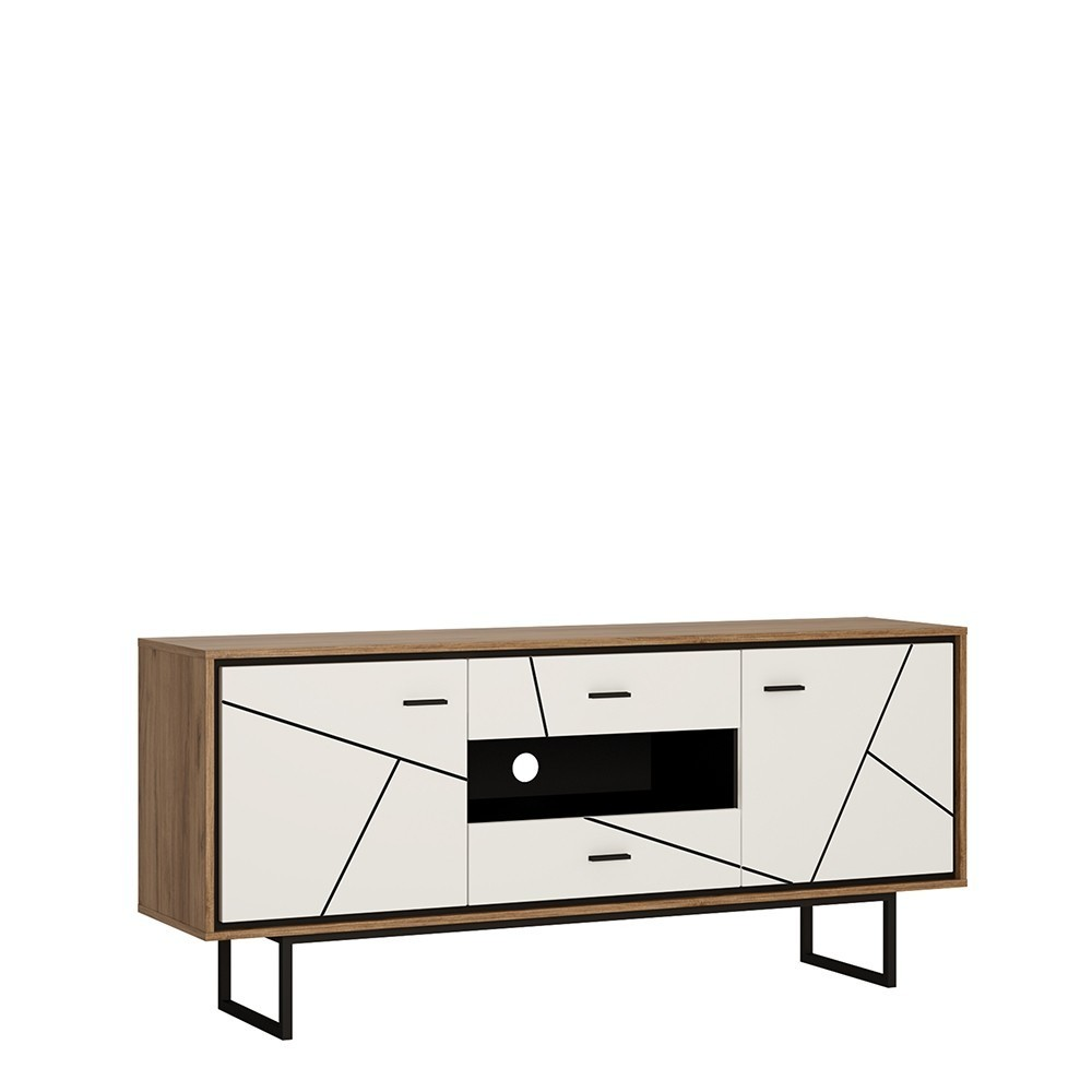 Brolo Walnut and Dark Panel Double Door Drawer TV unit