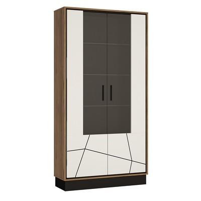 Brolo Walnut and Dark Panel Finish Tall Wide Glazed Display Cabinet