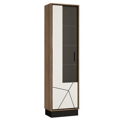 Brolo Walnut and Dark Panel Finish Tall Glazed Display Cabinet