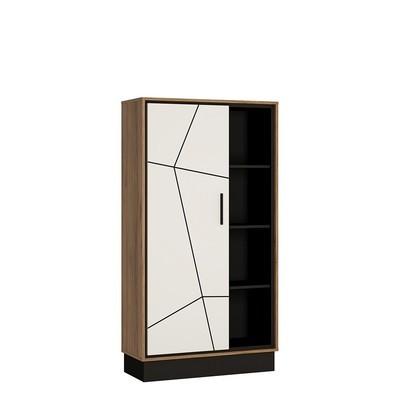Brolo Walnut and Dark Panel Finish Wide Single Door Bookcase