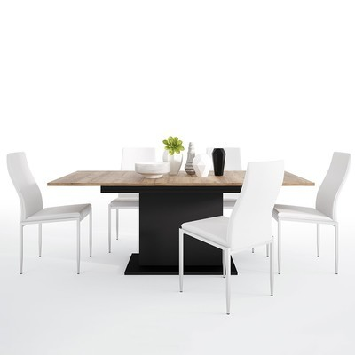 Brolo Extending Dining Table With 4 Milan High Back Chair Set