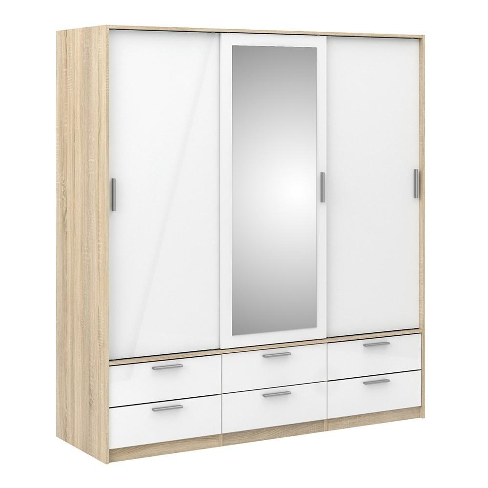 Line Wardrobe Oak with White High Gloss - 3 Doors 6 Drawers