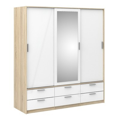 Line Wardrobe Oak with White High Gloss - 3 Doors 6 Drawers